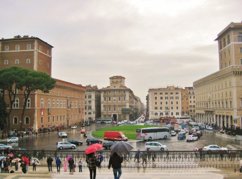 Historic Piazza Venezia is centerpoint of Rome, Italy