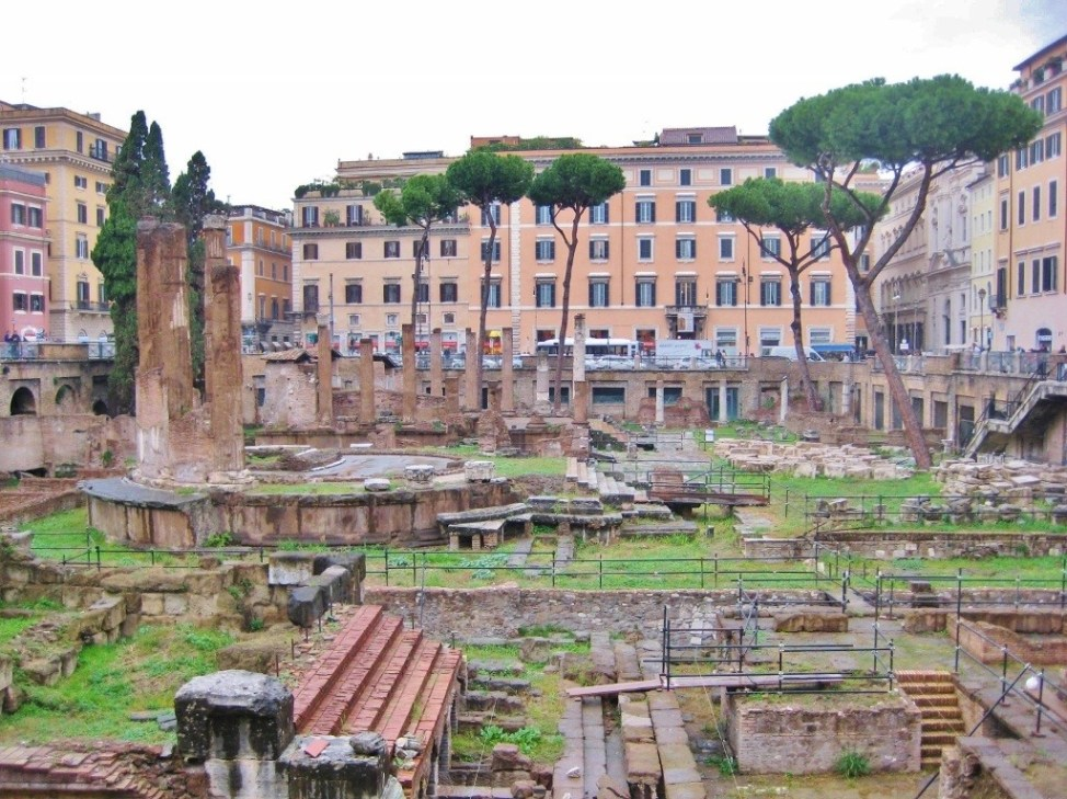 Roman ruins of temples and theater remain on Largo Argentina in Rome, Italy
