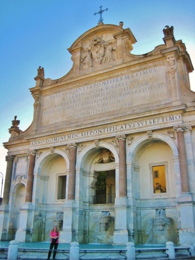 Baroque Fontana dell'Acqua Paola on Gianicolo Hill in Trastevere neighborhood in Rome, Italy