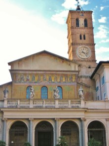 Church of Santa Maria in Trastevere features mosaic tiles in Rome, Italy