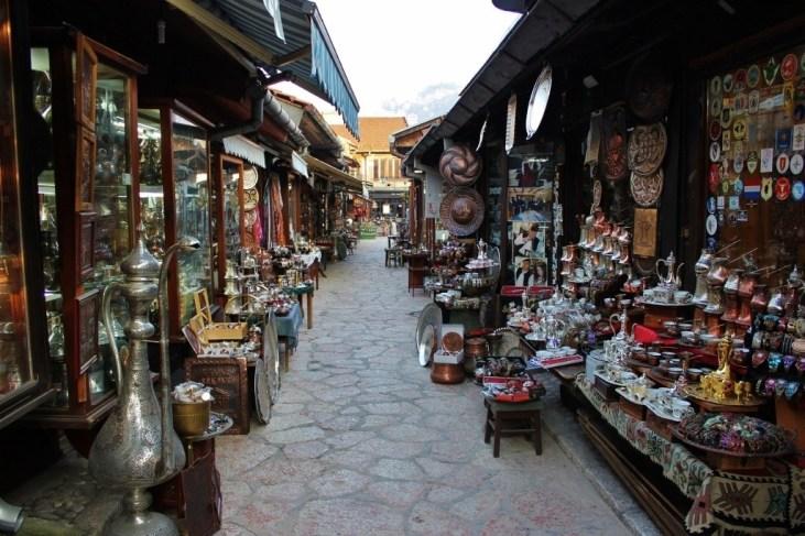 Coppersmith Street in Old Bazaar in Sarajevo