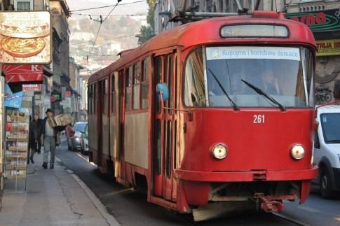 Old Red Tram in Sarajevo, Bosnia-Herzegovina