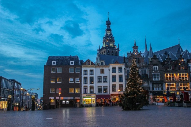 Main Square in Nijmegen, Netherlands at Christmas