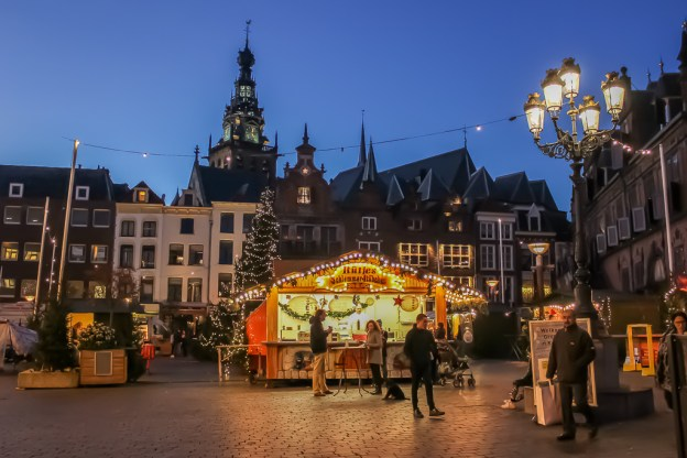 Grote Markt Square at Christmastime in Nijmegen, Netherlands