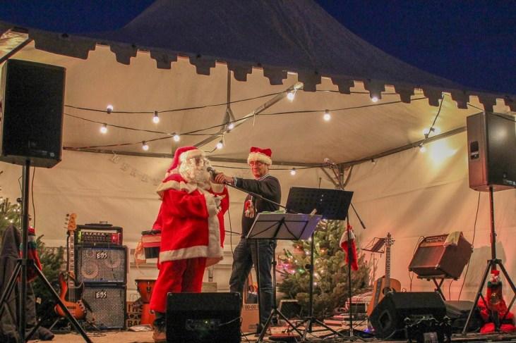Santa on stage at the Beek, Netherlands Christmas Market