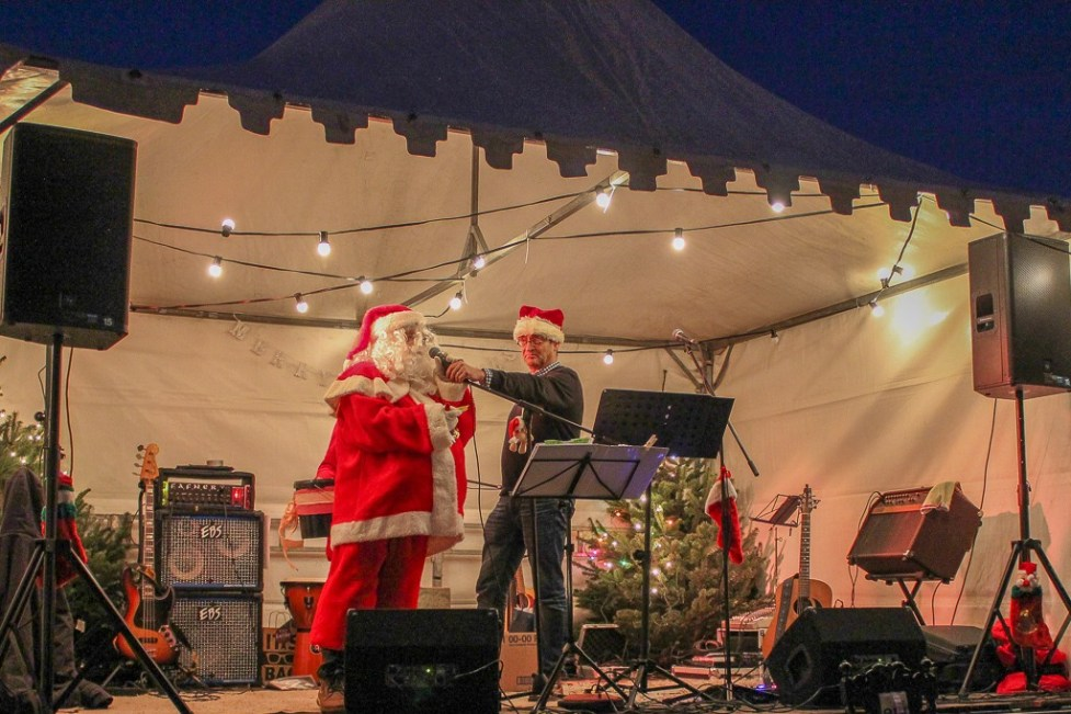 Santa on stage at the Beek, Netherlands Christmas Market
