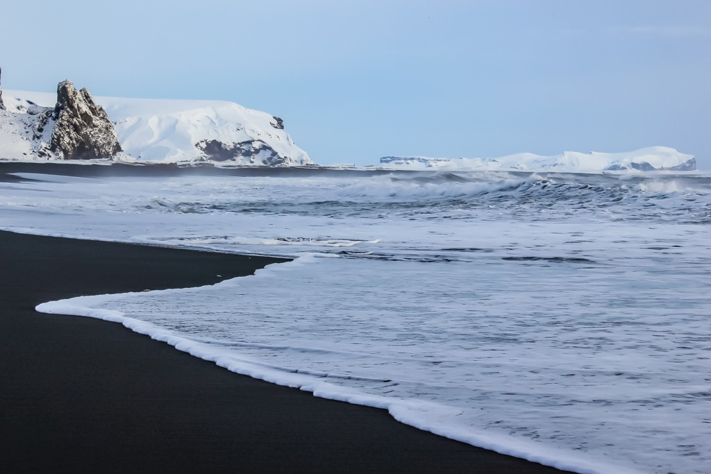 WintBlack Sand Beaches at Vik, Icelander at