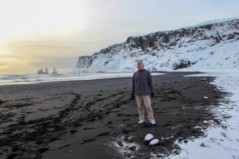 Standing on the Black Sand Beaches at Vik, Iceland