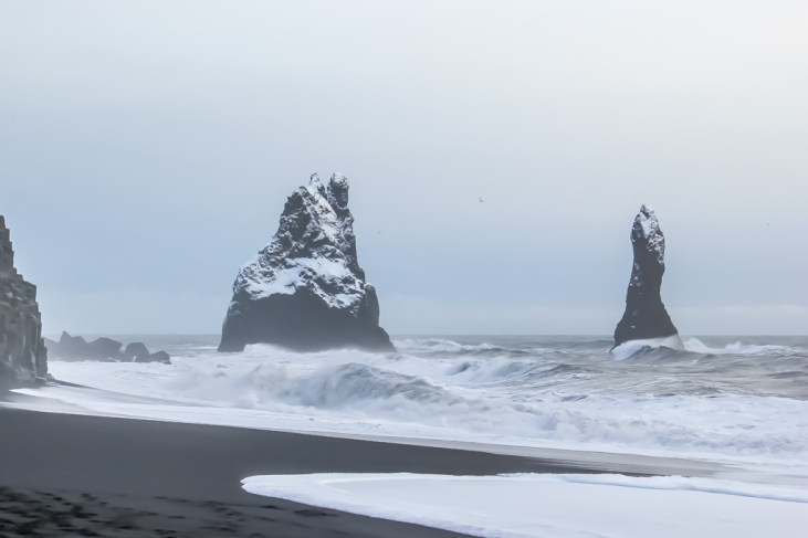 Reynisfjara Black Beach Iceland at winter