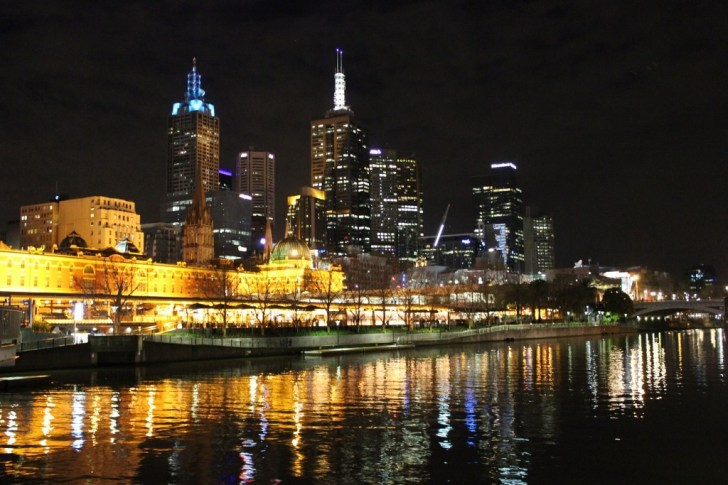Melbourne, Australia glowing at night