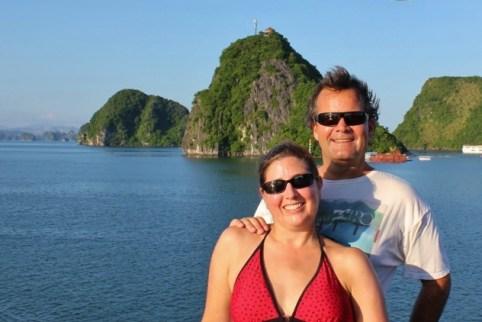 JetSetting Fools Sarah and Kris Halong Bay, Vietnam boat cruise
