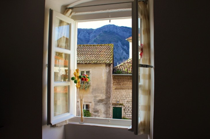 Using Airbnb in Kotor, Montenegro view from our window