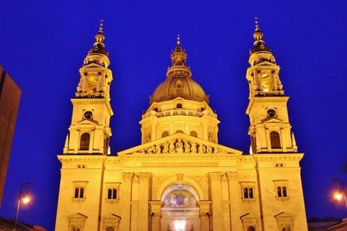 Budapest, Hungary St. Istvan's Basilica at night