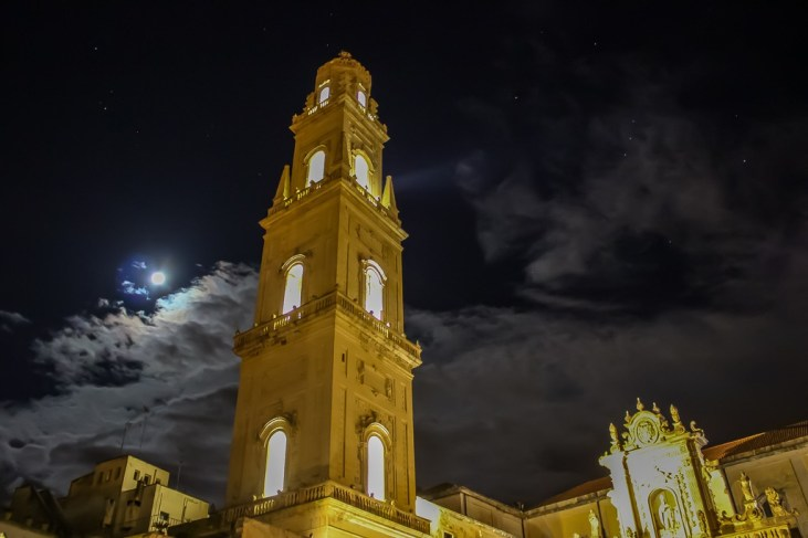 Campanile Bell Tower at night in Lecce, Italy