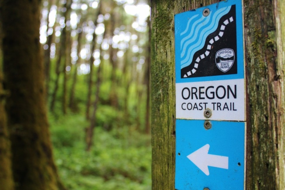 Oregon Coast Trail Marker marking one of the hikes near Florence, Oregon