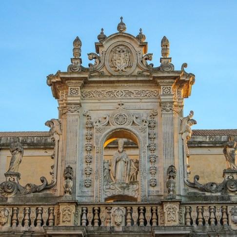 Ornate Baroque facade of Lecce Duomo Cathedral in Lecce, Italy