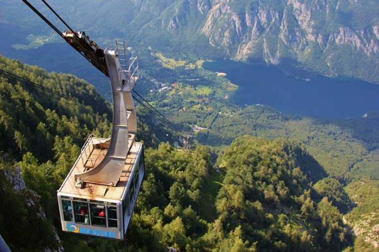 Cable Car Vogel and view of Lake Bohinj, Slovenia