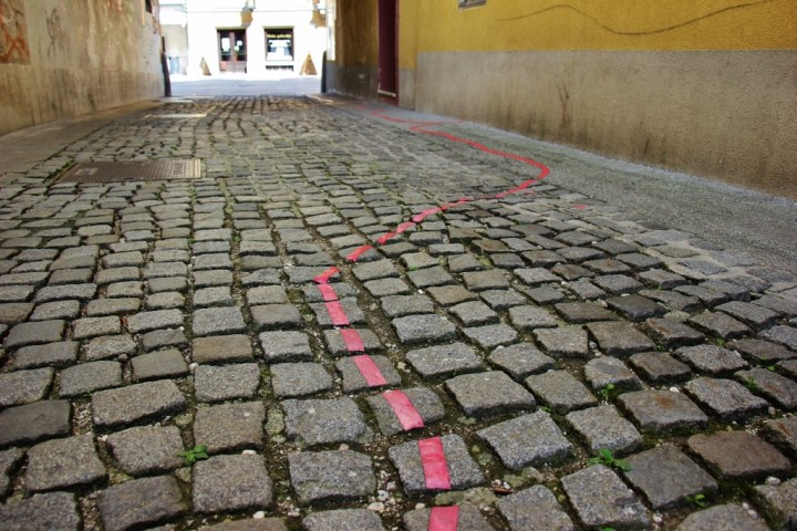 Follow the Red Line to Art Installment in Kranj, Slovenia