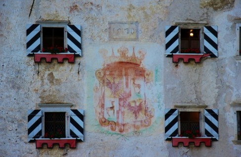 Fresco coat of arms at Predjama Castle