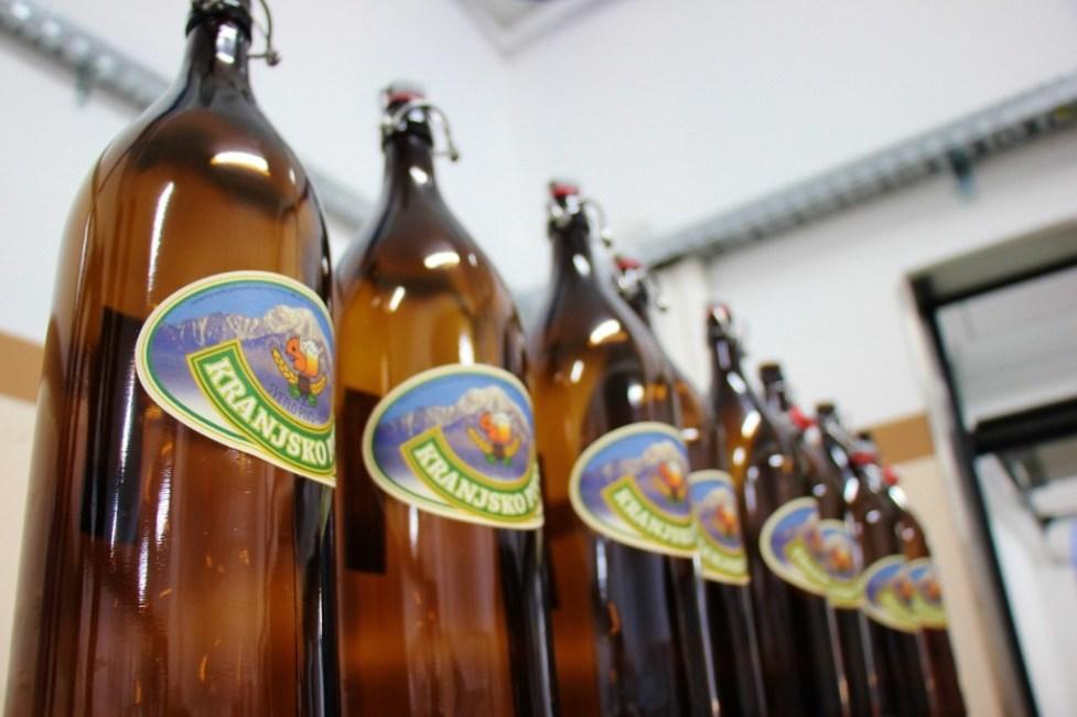 Kranjska Pivnica, 2-liter beer bottles on display, Kranj, Slovenia