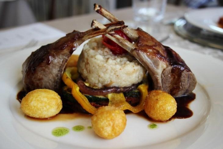 Lamb Chops with potatoes at Proteus Restaurant, Postojna Cave, Slovenia