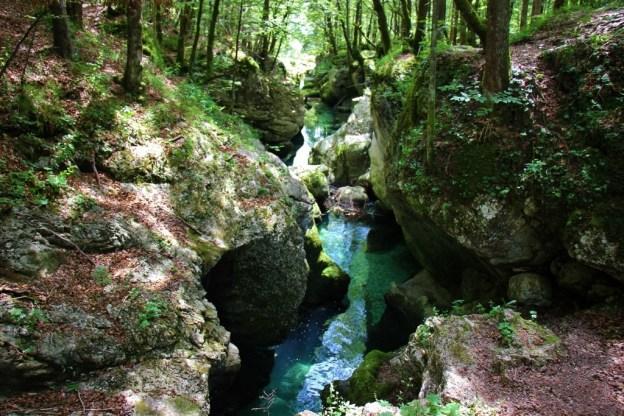 Narrow Mostnica Gorge Hiking Trail near Lake Bohinj, Slovenia
