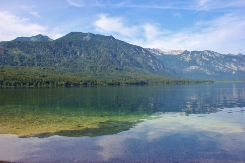 Reflections on Lake Bohinj, Slovenia from cirlce trail