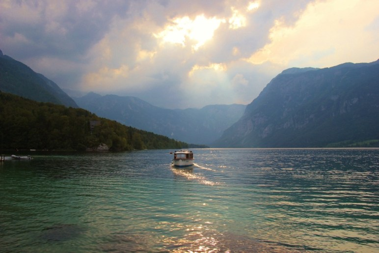 Electric Tourist boat on Lake Bohinj, Slovenia