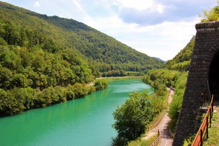 Mountain Tunnel and River on Scenic Train in Slovenia Bohinj Railway