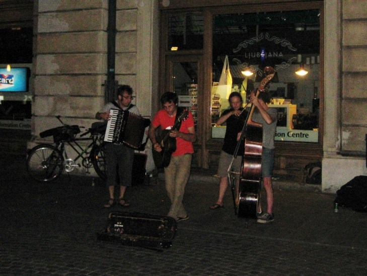Street Performers entertain in Ljubljana Slovenia