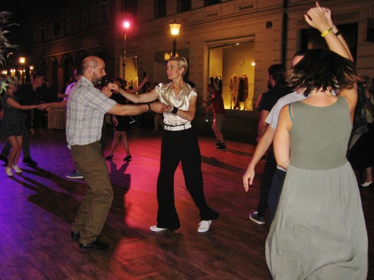 Swing Dancing in the streets in Ljubljana Slovenia