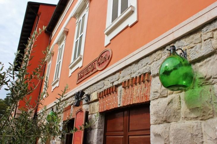 Pink building, Aura Distillery in Buzet, Istria, Croatia