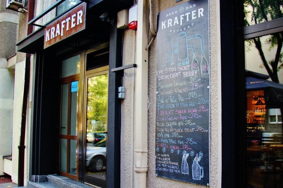 Entrance to Krafter craft beer bar in Belgrade, Serbia