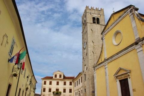 Main Square and historic buildings in Motovun, Istria, Croatia