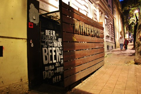 Entrance to Miners Pub craft beer bar in Belgrade, Serbia