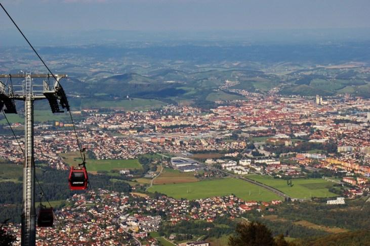 Pohorje Mountain Cable Car city views in Maribor, Slovenia