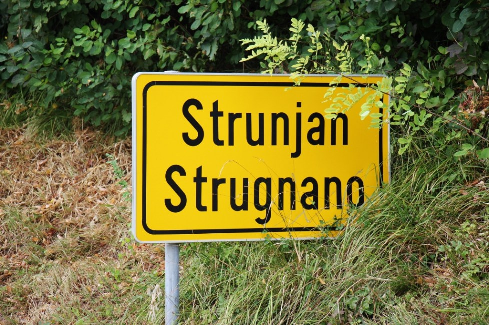 Yellow Strunjan, Slovenia road sign