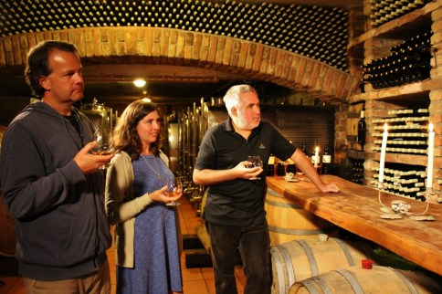 Tasting homemade brandy in cellar at Hisa Vina Cuk in Slovenia