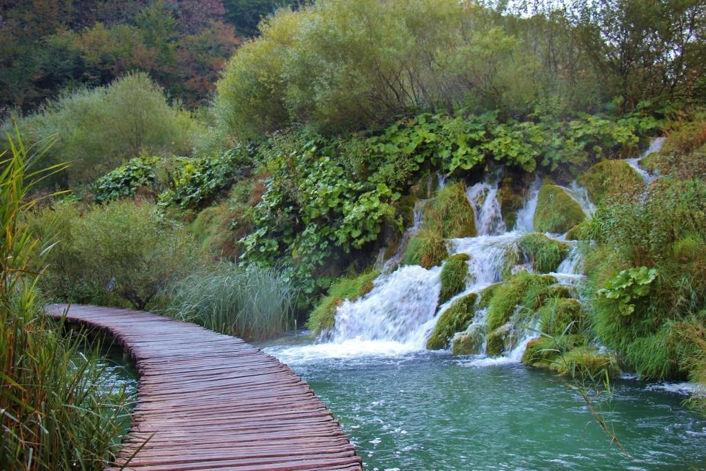 Tumbling waterfalls flow, Lower Lakes, Plitvice Lakes National Park, Croatia