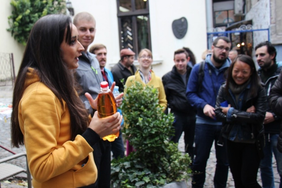 Sampling homemade Rakija on Free City Walking Tour with Belgrade Walking Tours