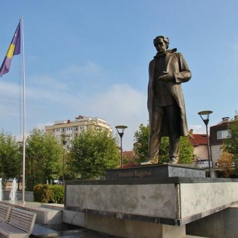 Statue of Ibrahim Rugova, president of Kosovo, in Prishtina, Kosovo
