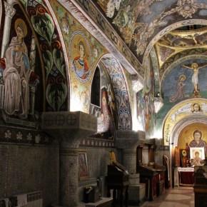 Tiled mosaic designed interior at St. Petka Chapel in Belgrade, Serbia