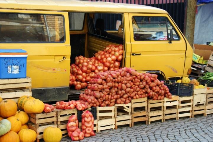 Produce sold from yellow van at Green Market in Prishtina, Kosovo