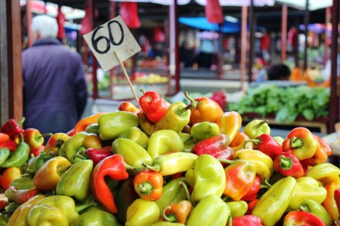 Fresh colorful peppers for sale at Green Market in Belgrade, Serbia