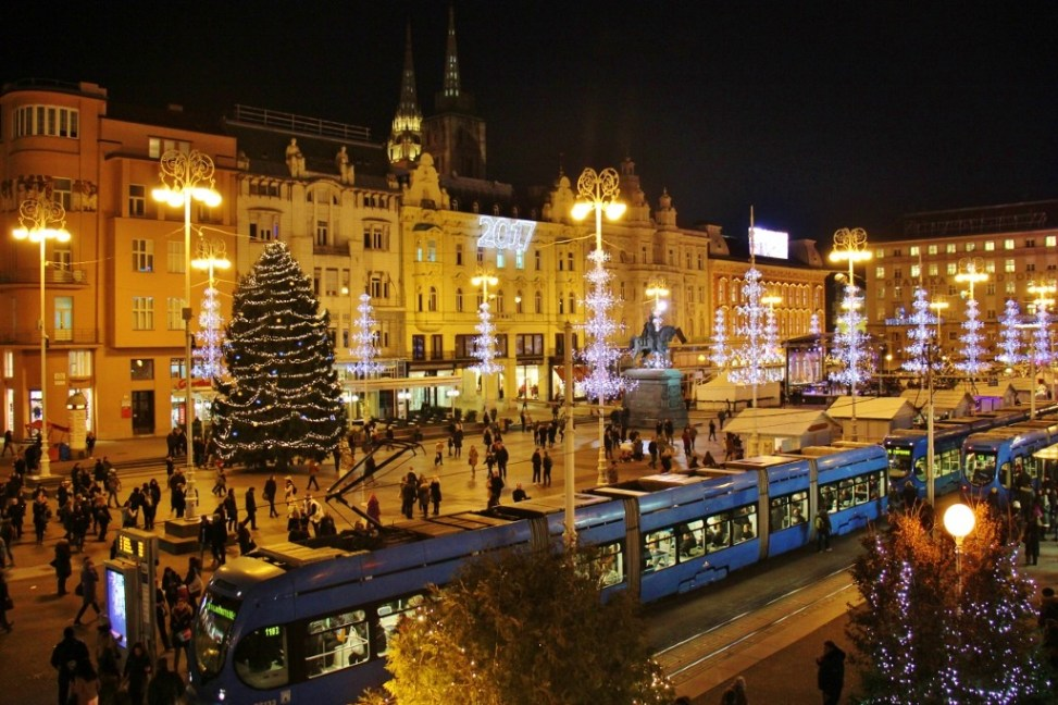 Advent on the Main Square, Ban Jelacic Square, during Christmas in Zagreb, Croatia