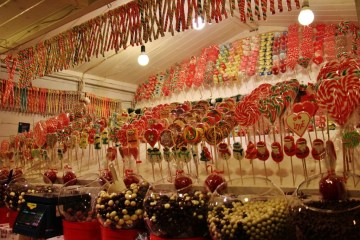 Christmas candy for sale during Advent in Zagreb, Croatia