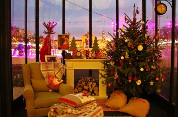 Cozy room decorated for Christmas on Tomislav Square at Ice Park in Zagreb, Croatia