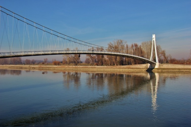 Pedestrain Bridge over Drava River in Osijek, Croatia