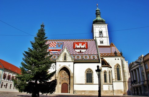 St. Mark's Church during Christmas in Zagreb, Croatia