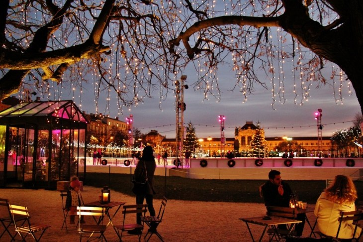 The ice park at Tomislav Square during Christmas in Zagreb, Croatia